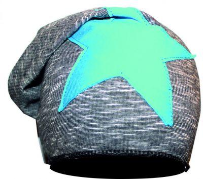 Čepice skejťačka šedá mellange s modrou hvězdou-podšitá