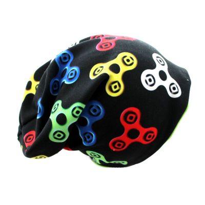 Čepice skejťačka spinery - barevné na černé -podšitá