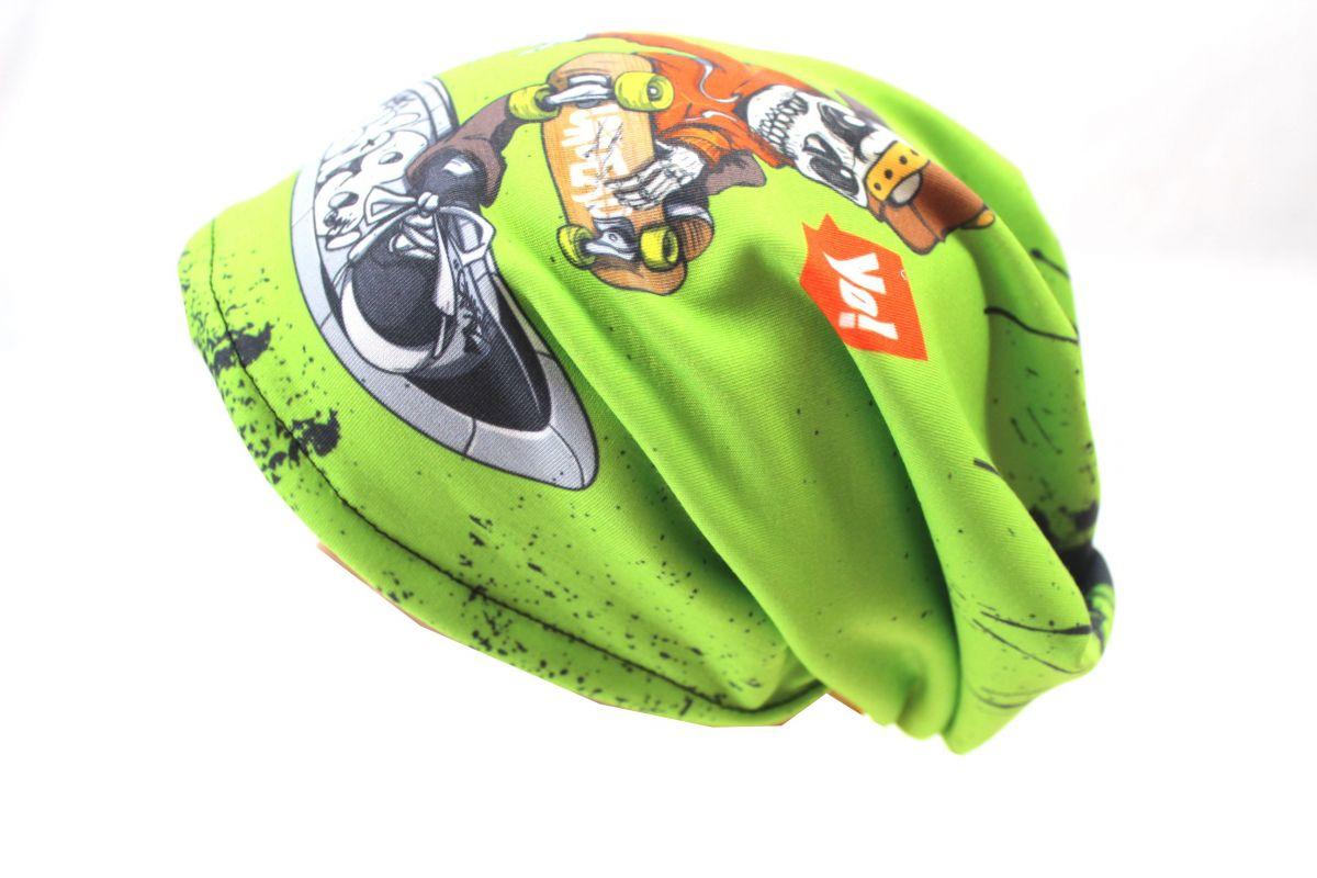 Čepice skejťačka kostlivci- žlutá, červená a zelená- dětská čepice vyrobeno v ČR