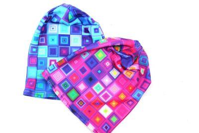 Čepice skejťačka neon kostky- růžová, modrá a mix barev