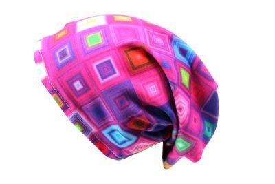 Čepice skejťačka neon kostky- růžová, modrá a mix barev dětská čepice vyrobeno v ČR