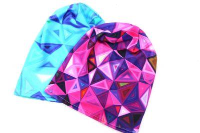 Čepice skejťačka neon trojúhelníky- růžová, modrá