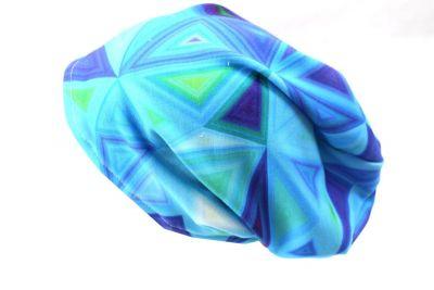 Čepice skejťačka neon trojúhelníky- růžová, modrá - dětská čepice vyrobeno v ČR
