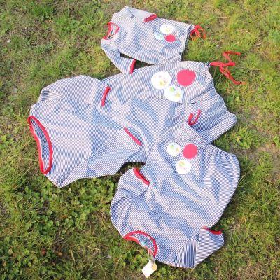 BALONOVÉ šaty SET  - proužek- bubliny an přání - cena za set