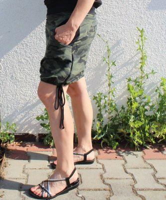 Dámská sukně BALONOVÁ na zavazováni -army+černa vyrobeno v ČR