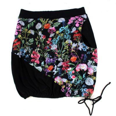 Dámská sukně BALONOVÁ na zavazováni -kytky na černé