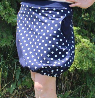 Dámská sukně BALONOVÁ na zavazováni -tmavě modrá + puntíky vyrobeno v ČR