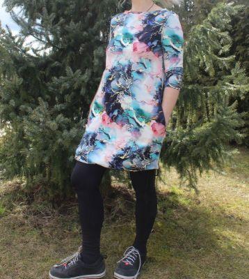 Dámské BALONOVÉ šaty  - růžový mramor