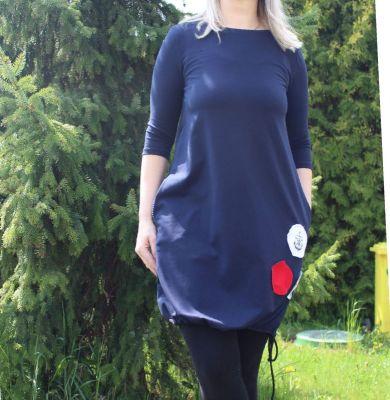 Dámské BALONOVÉ šaty  - tmavě modré+ námořnické puntíky