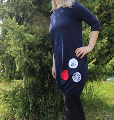 Dámské BALONOVÉ šaty - tmavě modré+ námořnické puntíky vyrobeno v ČR