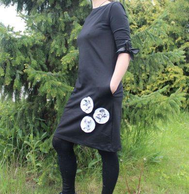 Dámské šaty AGATA basic s kytičkovými bublinami vyrobeno v ČR