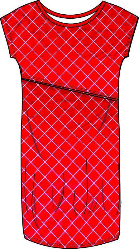 Kojící šaty basic - ČERVENÁ kostka vyrobeno v ČR
