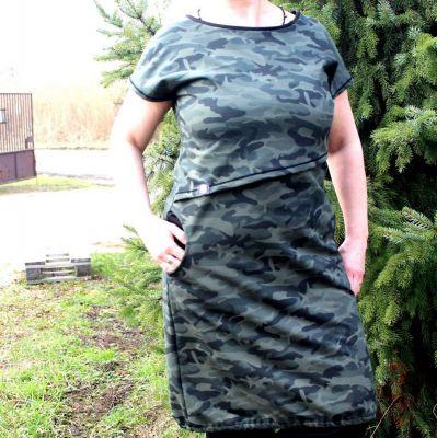 Kojící šaty basic - zelená kamufláž vyrobeno v ČR