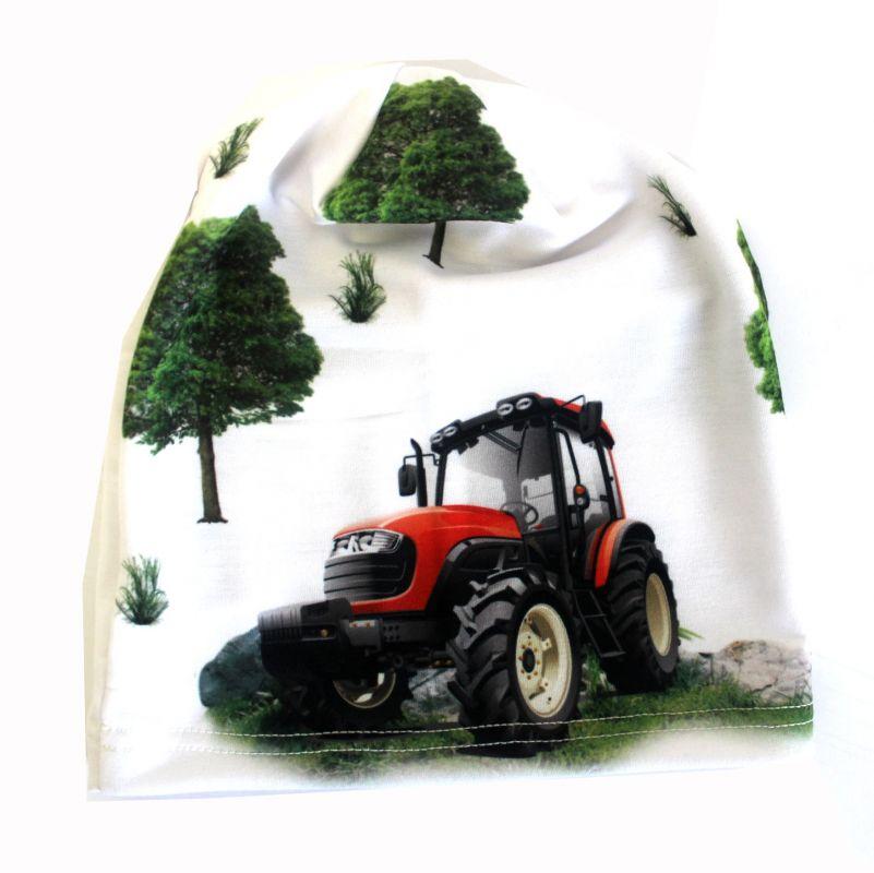 Čepice traktor na bílé - smajlíci vyrobeno v ČR