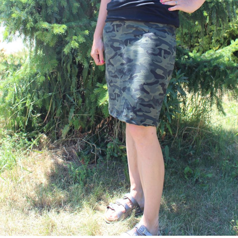 Sukně slim fit basic - army vyrobeno v ČR